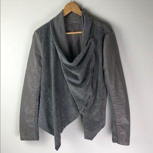 Blank NYC Denim Faux Leather Drape Front Jacket